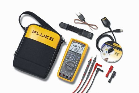Fluke 289/FVF trms industrial logging dmm with trendcapture fluke view software laid out on table